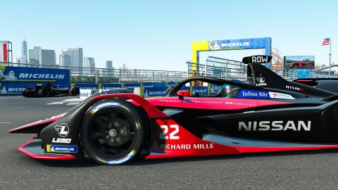 | Driver: Oliver Rowland| Team: Nissan e.dams| Number: 22| Car: IM02|| Photographer: Lou Johnson| Event: Race at Home Challenge Round 7: New York City | Circuit: Brooklyn Street Circuit| Location: Brooklyn, NY| Series: ABB Formula E| Season: 2020| Country: United States|