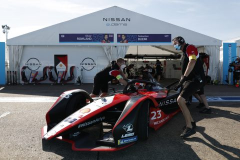 BERLIN TEMPELHOF AIRPORT, GERMANY - AUGUST 05: Sébastien Buemi (CHE), Nissan e.Dams, Nissan IMO2 during the Berlin ePrix I at Berlin Tempelhof Airport on Wednesday August 05, 2020 in Berlin, Germany. (Photo by Sam Bloxham / LAT Images)