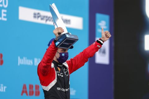 BERLIN TEMPELHOF AIRPORT, GERMANY - AUGUST 06: Sébastien Buemi (CHE), Nissan e.Dams with his trophy on the podium during the Berlin E-prix II at Berlin Tempelhof Airport on Thursday August 06, 2020 in Berlin, Germany. (Photo by Sam Bloxham / LAT Images)