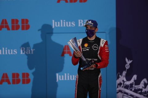 BERLIN TEMPELHOF AIRPORT, GERMANY - AUGUST 09: Sébastien Buemi (CHE), Nissan e.Dams on the podium during the Berlin ePrix IV at Berlin Tempelhof Airport on Sunday August 09, 2020 in Berlin, Germany. (Photo by Sam Bloxham / LAT Images)
