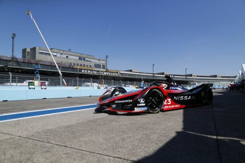 BERLIN TEMPELHOF AIRPORT, GERMANY - AUGUST 12: Sébastien Buemi (CHE), Nissan e.Dams, Nissan IMO2 during the Berlin ePrix V at Berlin Tempelhof Airport on Wednesday August 12, 2020 in Berlin, Germany. (Photo by Sam Bloxham / LAT Images)